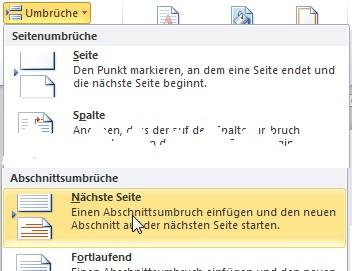 Word Formatierungs Tipps Deckblatt Kapitelweise