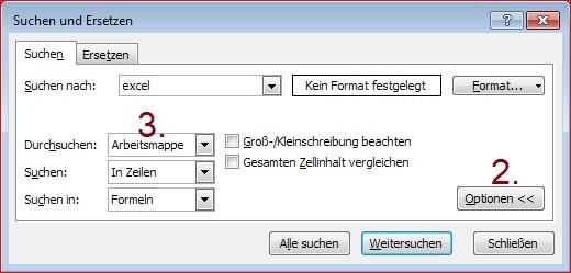 Excel - Datenverwaltung und -bearbeitung - Suchen in ganzer Arbeitsmappe