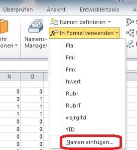 Excel - Formeln und Funktionen - Namen anzeigen