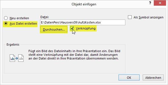 PowerPoint - Allgemeine Tipps - Excel-Daten verknüpfen und aktualisieren