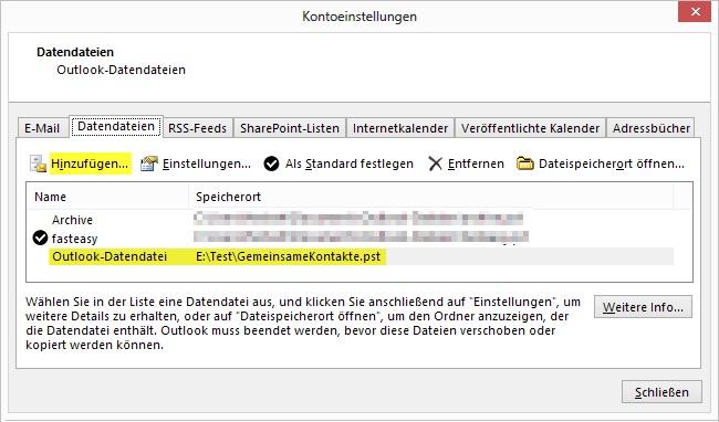 Outlook Outlook Kontakte Gemeinsam Verwenden