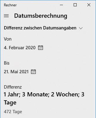 windows zubeh rprogramme datumsberechnungen mit dem windows rechner. Black Bedroom Furniture Sets. Home Design Ideas