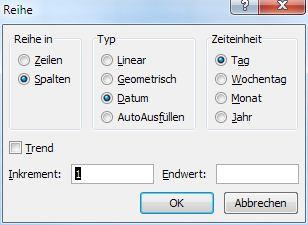 Excel - Schnelle Datums-Reihen (2)