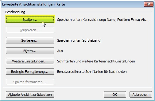 Outlook Kontakte Spalten ändern