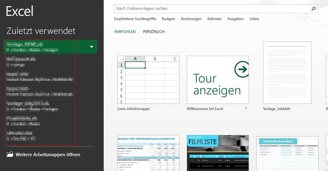 Excel - Allgemeine Tipps - Startbildschirm abschalten