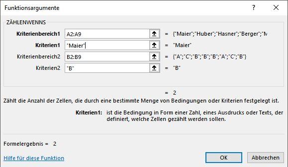 Excel - Formeln und Funktionen - Zählen mit mehreren Bedingungen (2)
